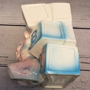 Vintage Accents - Vintage Relpo Large Baby Blocks with Bear Planter